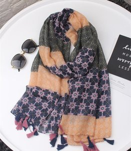 Wholesale winter head scarves women resale online - Winter scarves women viscose luxury British plaid scarf new Muslim floral hijab head scarves poncho shawl cape wrap bandana
