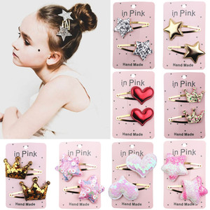 Wholesale flower head crowns resale online - Fashion Hair Clips Accessories Rainbow Color Gradients Sequin Heart Star Crown Shape Hairpin Girls Party Head Decor Hairclip dn L2