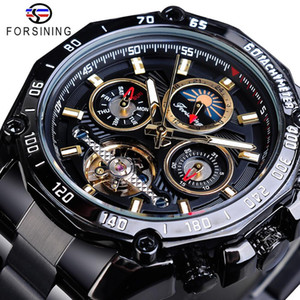 ingrosso uomini nera cintura automatica-Fornimento classico Black Mens Meccanico Orologi meccanici Tourbillon Hollow Skeleton Auto Vento Data Moonphase Cinghie d acciaio Automatico Guarda automatica