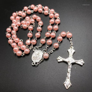 Wholesale white rosary resale online - pack mm glass pearl bead rosario pearl rosary pink blue red white available1