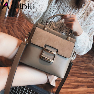 Wholesale vintage pu leather buckle bag resale online - Women Bag Vintage Shoulder Bags Buckle PU Leather Handbags Crossbody Bags For Women Famous Brand Spring Sac Femme C1116