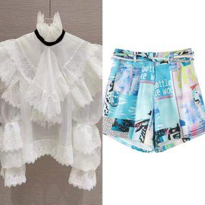 Australian spring palace style organza lace stitching flared sleeve shirt + printed shorts