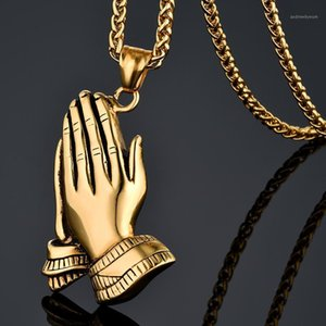 Wholesale praying hands for sale - Group buy Men s Stainless Steel Jesus Prayer Pendant Necklace Gold Color Hiphop Praying Hands Pendant usage Chain quot quot Colgante1