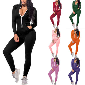 Women Onesies Designer Sexy Slim Solid Colour Zipper Hooded Jumpsuits Fall New Casual New Fashion One-piece Ladies Rompers