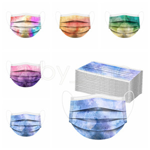 Wholesale colored half masks for sale - Group buy Adults Colored Tie dye Disposable Face Mask Ply Non Woven Anti Dust Anti Pollution PM2 Disposable Mouth Cover Mask RRA2397