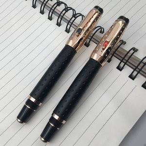 Wholesale pens men for sale - Group buy Screw cap Black and gold dots pattern big barrel rollerball pen for man blank red gem stone available