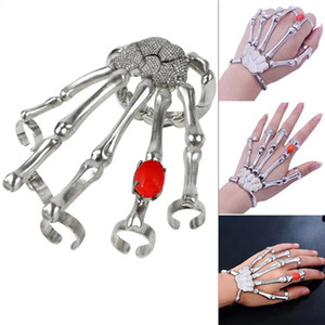 Wholesale hand bracelet finger rings resale online - Punk Nightclub Finger Ring for Men Skeleton Skull Bone Hand Bracelets Bangles Christmas Halloween Gift OWA2386