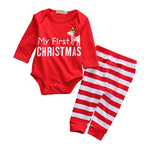 Wholesale winter cute outfit resale online - Toddler Christmas Clothes Unisex Baby Clothes Cute Long Sleeve Sleepwear My First Christmas Boy Outfit Set Girls Winter Clothes Y1113