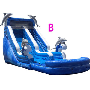 Wholesale inflatable waters slides for sale - Group buy Customized Dual Lane Dolphin Waterslide with Pool More Styles Inflatable Blue Dolphin Water Slide PVC Tarpaulin For Kids w Air Blower