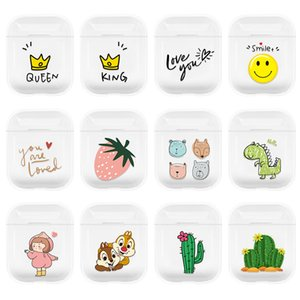 Wholesale cute fox resale online - For AirPods Transparent Crystal Clear Hard PC Charging Box Earphone Case Coque Cute Cartoon Paiting Dinosaur Fox Strawberry Cactus Que