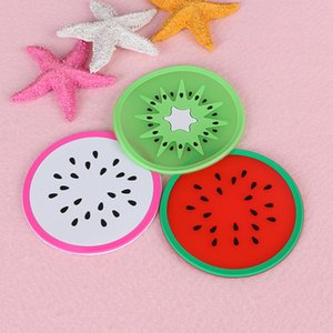 Wholesale round silicone placemats for sale - Group buy PVC soft Silicone Coaster Novelty Fruit round Shape Cup Pad Slip Insulation Drinks Mat Tableware placemats kitchen accessories cm PPD3855