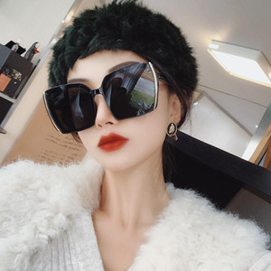 Wholesale korean large sunglasses resale online - 2020 Korean Retro Square Sunglasses Women Luxury Designer Silver side large frame sunglasses Men uv400 eyewear Black Shades