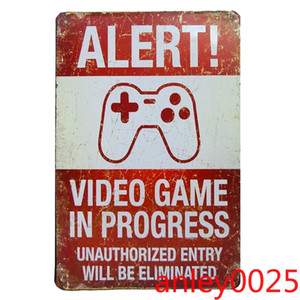 Wholesale iron video game resale online - Alert Video Game Poster Vintage Style Metal Tin Sign Retro Metal Iron Painting Poster Plaque Bar Pub Club Home Wall Decor Plaque
