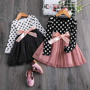 Wholesale polka dot clothing for kids for sale - Group buy Kids Dresses for Girls Autumn Winter Long Sleeve Polka Dots Soft Cotton Children Clothing Bowknot Belt Girls Casual Dresses J1205