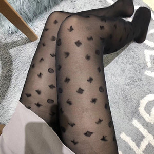 Wholesale over night resale online - Full Classic Small Letter Tight Women Flower Sexy Tights Fashion Night Club Tights Slim Party Stockings Black Pantyhose