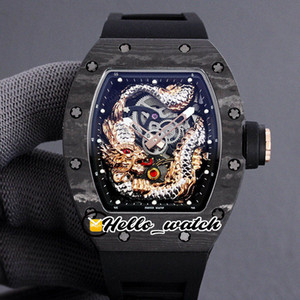 Wholesale dragon flies for sale - Group buy 2021 New Jack Chen D Flying Dragon Totem RM57 Miyota Automatic Mens Watch Skeleton Dial Carbon Fiber Case Rubber Sport Hello_Watch HWRM