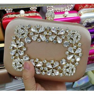 Wholesale pink satin bags for sale - Group buy Fushia Satin Female Wedding Clutch Pink Rhinestone Luxury Crystal Party Evening Bag Box Lad Purse Chain Handbag Day Clutches Q1117