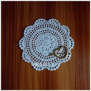 Wholesale dinning table round resale online - 20 quot round natural cotton crochet anti slip drink mat on the dinning table as underlay for wedding decoration novelty C1210