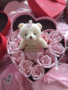 Wholesale plate bearing resale online - Valentine Day Rose Gift Box Flowers Soap Flower Gift Box Rose Flower Boxs Bear Bouquet Wedding Birthday Party Decorations Gift EWA2924