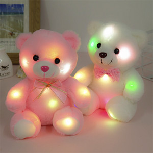 Wholesale teddy bears for baby girls for sale - Group buy 22CM Creative Toy Luminous Soft Stuffed Plush Teddy Bear Glowing Luminous Plush Bear Baby Toy Gift For Children Kids Girl Pillow Q0112
