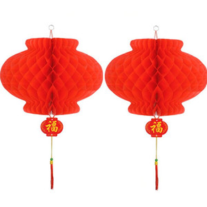 Wholesale lantern festival chinese for sale - Group buy Traditional Chinese Red Paper Lantern For Spring Festival New Year Christmas Decoration Hang Waterproof Festival Lanterns LX4372