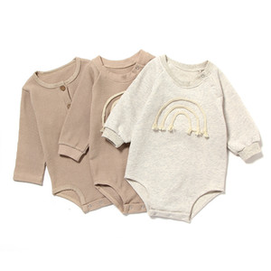 Wholesale toddlers hooded jumpsuits for sale - Group buy New INS Toddler Baby Girls Rainbow Rompers Blank Sleeve Front Buttons Autumn Newborn Kids Boys Girls Jumpsuits