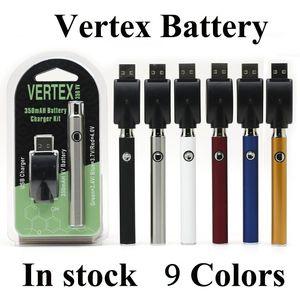 Vertex LAW Co2 VV Preheat Battery Kits LO Oil Vaporizer 510 Vape Pen Preheating Batteries 350mah BOGO 9 Colors