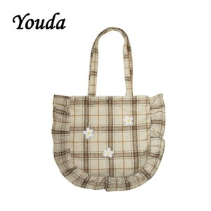 Wholesale stone edging for sale - Group buy Youda Original Simple Plaid Design Tote Woolen Fabric Pleated Edge Literary Ladies Shoulder Bag Female Student Shopping Handbag Q1118