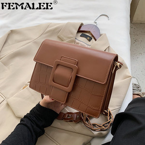 Wholesale unique handbag designers for sale - Group buy Vintage Stone Pattern Messenger For Women Designer Buckle Flap Handbag Ladies Unique Strap Shoulder Small Square Bag Sac Q1207