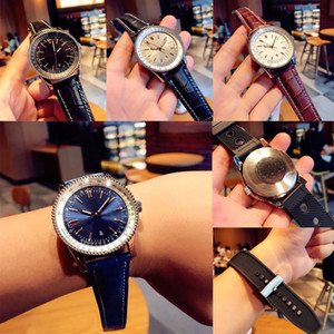 Wholesale black faced mens watch resale online - New Black Leather Top Fashion Mens quartz Movement mm pearl Watch Business Sports men navitimer Big face Wristwatches
