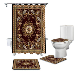 Wholesale oriental rug resale online - Carpet Oriental Texture Print Shower Curtain Bathtub Decor Rug Waterproof Bathroom Curtain Toilet Cover Mat Set Q0121