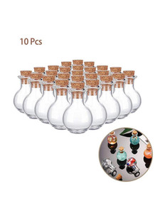 Wholesale mini bottle pendant diy resale online - 10Pcs Mini Glass Wishing Bottle Cork Stopper Empty Sample Jars DIY Pendants Storage Vial Wedding Home Decoration Supplies