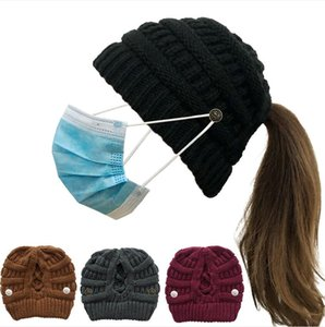 Wholesale crochet winter ear warmer for sale - Group buy Women Criss Cross Hollow Out Knitted Hat Winter Crochet Beanie Ski Caps with face mask button hat Warm Beanies Hats Ear Muffs F101604