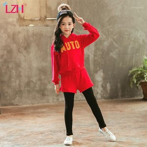 Wholesale teens girls clothes resale online - LZH Fashion Autumn Winter Kids Girls Clothes Sportswear Hooded Pants Outfit Suit Teens Girls Clothing Set Year1