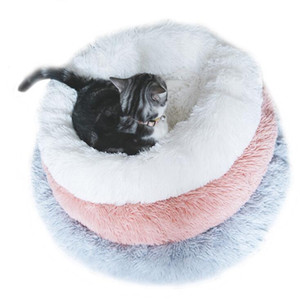 Wholesale bed round resale online - Pet Bed Long Plush Dog Kennel Round Washable Pet House Velvet Mats Sofa Dogs and Cushion Bed Winter Warm Sofas GWC4524
