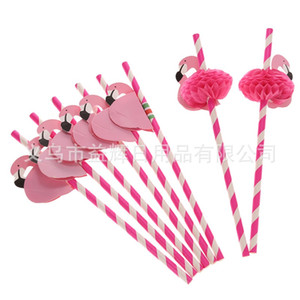 Wholesale tropical supplies for sale - Group buy New Design Flamingo Striped Straws Luau Beach Tropical Party Barware Favor Xman Cocktail Wedding Party Supplies Decor Gift N2