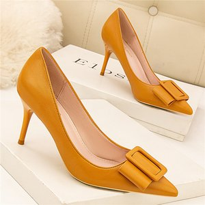 Wholesale naked female resale online - Yellow Female Spring Black Naked Seven Inches High Heels Party Women Shoes Scarpins Stiletto Pumps Svab
