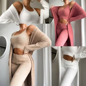 Wholesale three piece elegant pant suit resale online - Autumn Winter Elegant Solid Three Piece Suit Women Loose Outwear Top And Pant Set Warm Long Sleeve Casual Coat Set