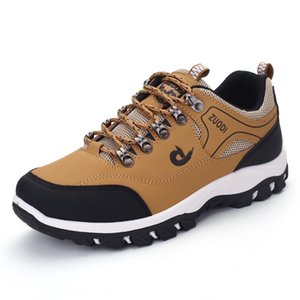 Wholesale men leather trekking shoes resale online - Men Shoes Spring Autumn Breathable Casuals Hiking Walking Sneakers Outdoor Ultralight Leather Slip on Climbing Trekking Sneakers