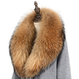 Wholesale big size scarves resale online - Genuine Real Raccoon Fur Collar Scarf For Women Natural Raccoon Fur Scarf Neck Warmer Detachable Big Size Scarves Shawl Muffler J1215