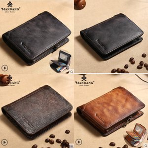 Wholesale leather walet for sale - Group buy HBP ManBang New Genuine Leather Men Wallet Small Mini Card Holder Male Walet Pocket Retro purse High quatily Q1220