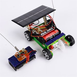 Wholesale slot cars resale online - Solar Power RC Car Toy Wood DIY Wireless Car Vehicle Models Kids Toys RC Car Assembly Building Toys Children Educational Toy