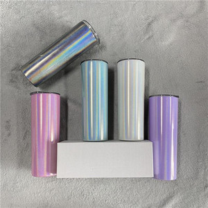 Wholesale glitter tumblers resale online - US Stock oz Blank Sublimation Skinny Tumbler With Straw Stainless Steel Glitter Wine Mugs Rainbow Tumbler Insulated Coffee Beer Cups