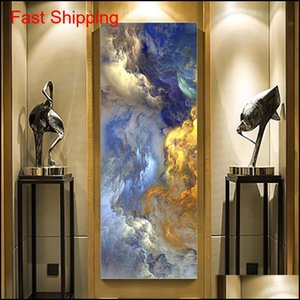 Wholesale room painting colors resale online - Wangart Abstract Colors Unreal Canvas Poster Blue Landscape Wall Art Painting Living Room Wall Hanging Modern qylQSn bde_luck
