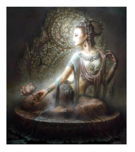 Wholesale painting kwan yin resale online - A15 Framed Unframed Chinese Dunhuang Kwan yin goddess High Quality Handcrafts HD Print portrait Art Oil painting On canvas Multi size DH60