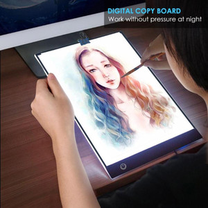 ingrosso luce di tracciamento principale-A4 Digital Graphics Tablet LED Disegno Tablet Thin Art Stencil Drawing Board Box Tracing Copy Pad Stonepless Dimming Regali di oscuramento