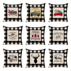 Wholesale black white sofa covers resale online - Black White Check Pillowcase Christmas Decoration Pillow Cover Linen Sofa Throw Pillow Cases Pillow Bedroom Upholstery Cushion OWB3045
