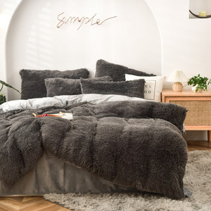 Wholesale king sized bedding sets for sale - Group buy Four piece Warm Plush Bedding Sets King Queen Size Luxury Quilt Cover Pillow Case Duvet Cover Brand Bed Comforters Sets High Quality