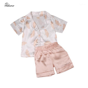 Wholesale kids pajama sets for sale - Group buy Kids Pajama Sets Baby Boys Girls Silk Pajamas Sleepwear Outfit Solid Feather Print Shirt Pants Nightwear Set Y1
