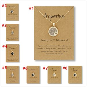 Wholesale gemini zodiac for sale - Group buy In Stock Day and night Constellation Zodiac amulet Aries Cancer Pisces Taurus Aquarius Virgo Leo Gemini Libra Matching necklace